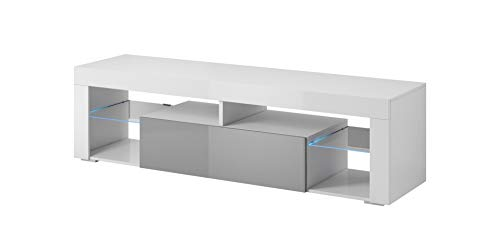 E-com Titan Meuble TV Bas avec LED Blanc/Gris 140 cm