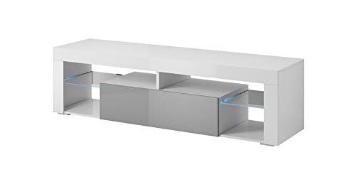 E-Com - Mobile TV Titan con LED, 140 cm, Colore: Bianco/Grigio