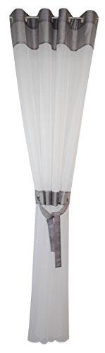 Acus Textiles Ösenvorhang Andre Silber weiß 140x245cm mit Raffband