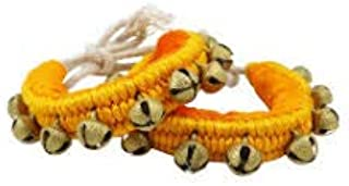 UAPAN Brass Ghungroo Anklets Bells (1 Line Pad, Yellow, Pair)