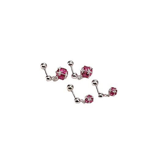 Pendiente de tornillo de bola de tornillo de plata S925, colgante de diamante pequeño, pendiente de bola de personalidad de uñas de hueso de oreja, joyería de oreja