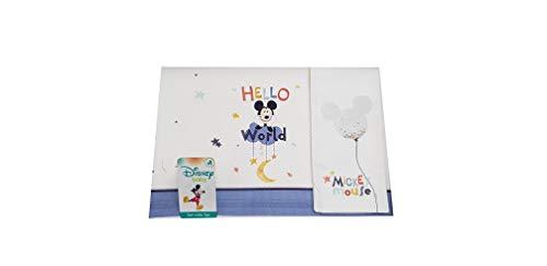 Disney Baby Set 3pz culla carrozzino lenzuola in cotone + federa Mickey Mouse