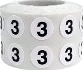 White Circle with Black Number 3 Stickers, 1/2 Inch Round, 1000 Labels on a Roll