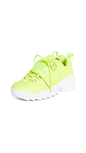 Fila Women's Disruptor II Applique Sneakers, Safety Yellow/White, 10 Medium US