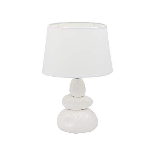 Dictrolux Lámpara de mesa Abat-Jour con pantalla de tela, ideal para dormitorio, salón y oficina, color blanco
