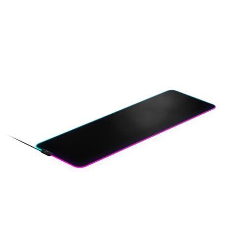 SteelSeries QcK Prism XL - Tapis de souris de jeu en tissu - Éclairage RVB 2 zones - Éclairage événementiel en temps réel - Optimisé pour les capteurs de jeu - Taille XL (900mm x 300mm x 2mm)