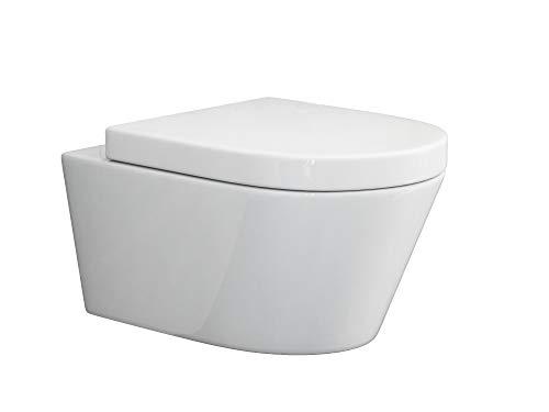 SSWW   Design Hänge WC   Spülrandlose Toilette   Wand-WC   WC-Set   Inkl. abnehmbaren WC-Sitz mit Softclose Absenkautomatik   BETA.19   540 x 360 x 310 mm