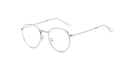 Óculos Armação De Grau Armação Feminino Geek Redondo P-18071 (Prata)