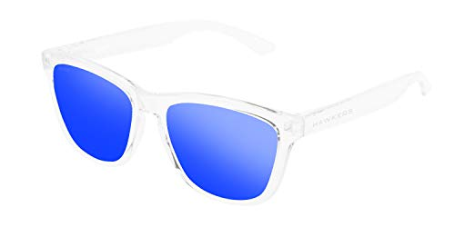 HAWKERS Gafas de Sol ONE Air, para Hombre y Mujer, con Montura Transparente y Lente Azul con Efecto Espejo, Protección UV400
