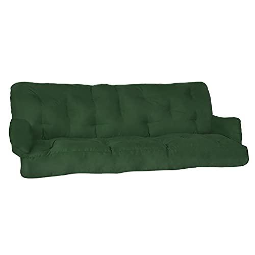 Beautissu Cuscini per dondoli e altalene da Giardino Flair HS - 180x50x8 cm - 2 braccioli e Un soffice Cuscino Grande - Verde Scuro