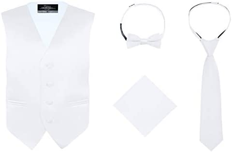 S H Churchill Co Boy s 4 Piece Vest Set with Bow Tie Neck Tie Pocket Hankie White Size 8 product image