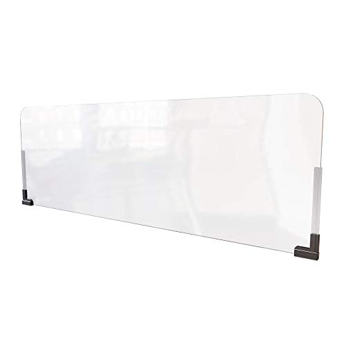 Sneeze Guard for Office Cubicle (48'W x 16'H), Portable Plexiglass Shield Wall Extender, Clear Acrylic Plastic Barrier for Cubicle with Magnetic Mounts [Made in USA]
