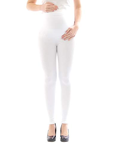yeset Umstandsleggings Thermo Fleece innen Hose lang Baumwolle Umstand-Leggings Weiss L
