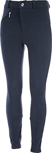 HORZE Pantaloni da Equitazione Bambini, con Applicazione in Silicone sull'intera Area di Seduta, Tasche con Cerniera e Fondo Gamba Elastico, Tutte Le Taglie, Blue, 150