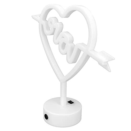 Letrero de neón LED con forma de corazón de amor con baseWall Light Decoración de pared Batería o luz alimentada por USB para dormitorio, sala de estar, bar, fiesta