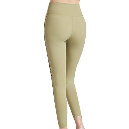 ZZAL los Pantalones Yoga Pantalones de Yoga de Compresión de Cadera Deportiva Sin Costuras con Agujeros Huecos Sin Costuras para Correr(Size:s,Color:palta)