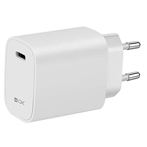 4-Ok Cargador Ultra Rápido USB-C 20W, PD Power Delivery, Cargador Casa 220V Compatible con Apple, Samsung, Xiaomi, Huawei.