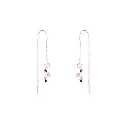 Pendientes De Diamantes Azules Con Estrella Brillante Chapada En Oro Rosa, Personalidad De La Moda, Personalidad Conectada, Línea De Oreja