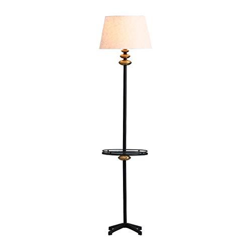 TangMengYun Lampadaire En Fer Forgé Américain Verre Rack Tissu Abat-Jour Lampe De Table Vertical Chambre Lampe Creative Table Basse Lampe Canapé (Taille : 164cm)