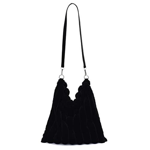 Piklodo Bolsas de hombro para mujeres niñas felpa estrella/corazón/patrón color sólido axila bolso señoras mullido bolso, Negro, Talla única