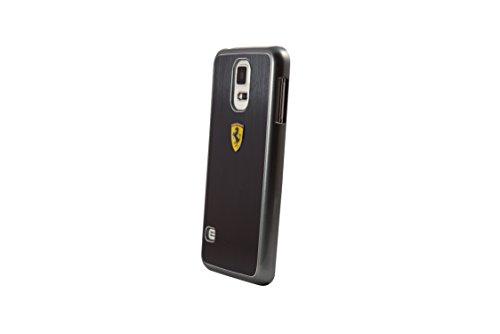 Ferrari - Custodia rigida in alluminio spazzolato per Samsung Galaxy S5, colore: Nero