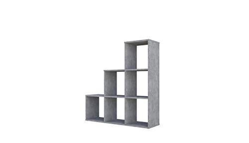 Polini Home Treppenregal Stufenregal Raumteiler grau 6 Fächer