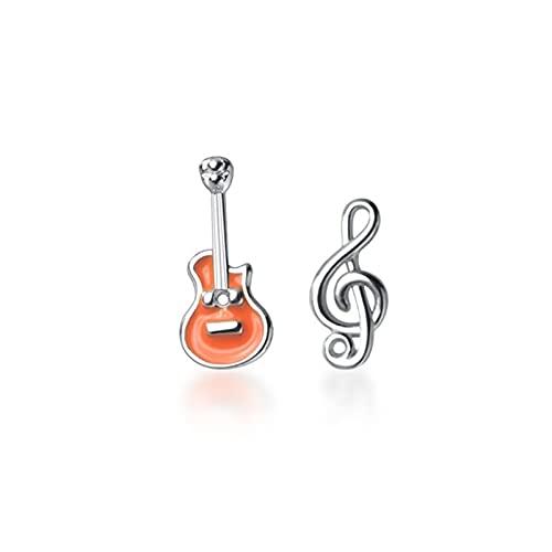 Arete Pendientes De Botón De Clave De Sol Y Guitarra De Plata De Ley 925 Auténtica, Pendientes Asimétricos De Notas Musicales Para Mujeres Y Niñas, Amantes De La Música