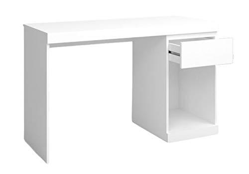 Fabrikit Mesa Escritorio Boro Color Blanco Mate 1 cajón 1 Hueco Estilo Moderno Oficina Estudio Mueble 76x120x50cm