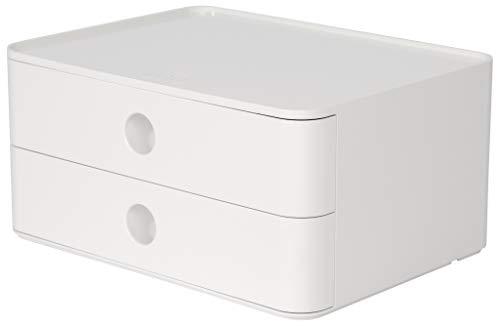 HAN SMART-BOX ALLISON – kompakte Design-Schubladenbox mit 2 Schubladen, hochglänzend und in Premium-Qualität, snow white