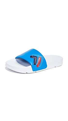 Fila Men's Drifter Double F Slides (12 M US, White/Blue/Navy)