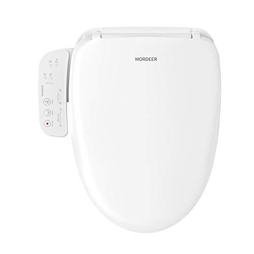 MORDEER B200 Elongated White Smart Toilet Seat, Unlimited Warm Water, Ultra Slim bidet seat, Electronic Heating Bidet Toilet Cleansing Water, Stainless Steel Self-Cleaning Nozzle,Nightlight