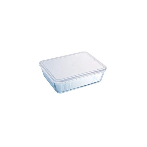 Pyrex - 244p000/5043 - Plat rectangulaire 4l verre + couvercle plastique
