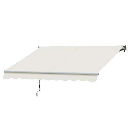 Outsunny Store banne Manuel rétractable Aluminium Polyester imperméabilisé 3L x 2,5l m crème