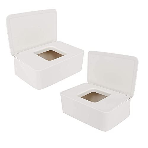 Meiruyu 2 pcs Caja de Almacenamiento de toallitas húmedas. con Tapa. Contenedor de Caja de Almacenamiento de pañuelos de plástico. para Accesorios de Oficina de Viaje a casa