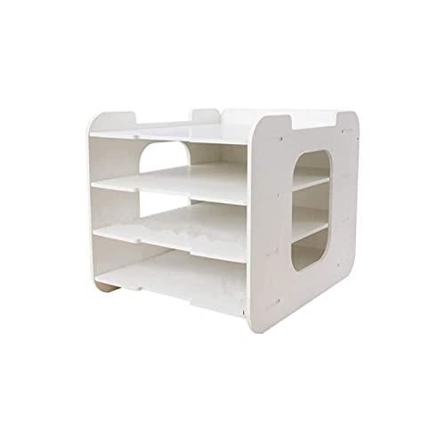 Soporte para archivos duradero, estantes para archivos Organizadores de 4 niveles para negocios, hogar, escuelas, tiendas, organización de archivos, carpetas, cartas, carpetas de papel, documentos de