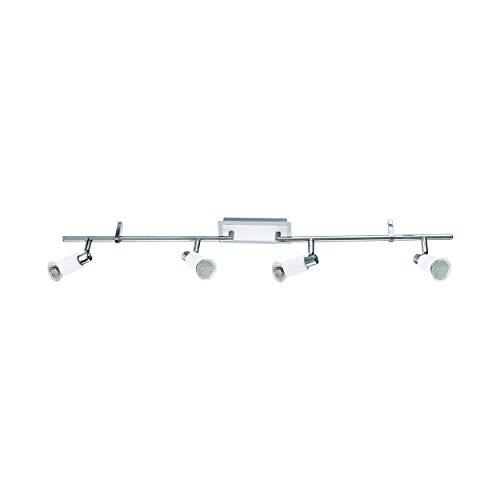Eglo 90835 Plafonnier 4 spots Eridan en acier muni de 4 LED GU10 3 W 720 lm Chromé/blanc brillant 88.5 x 7 cm