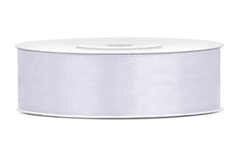 25 Meter Satinband Weiß 25mm Schleifenband weiß Satin Dekoband Geschenkband Deko Band für Weihnachten, Weihnachtsdeko, Geschenkverpackung, Blumenstrauß, Hochzeit Band Weiß