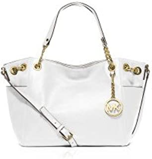 Michael Kors Optic White Leather Large Jet Set Chain Tote Pocket Bag