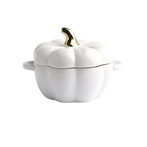KLgeri Ceramic Bowl Stew Cup with Lid Pumpkin Cup Kitchen Children's Steamed Egg Bowl Salad Bowl Exquisite Tableware Rice Porridge Bowl (White)