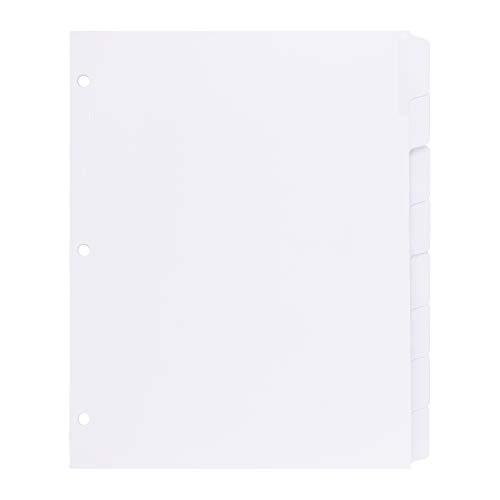 Amazonベーシック インデックス 3リングバインダー用 印刷可能 ホワイトラベル 8タブ 1セット