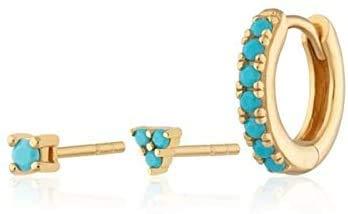 LYLSXY Ear Studs,Earrings for Women Real 925 Sterling Sier Earrings Jewelry,Gold