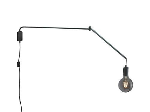 TRIO Beleuchtung Schwenkbare LED Wandlampe Kabelleuchte in Schwarz mit Gelenkarm, Schnurschalter und Stecker