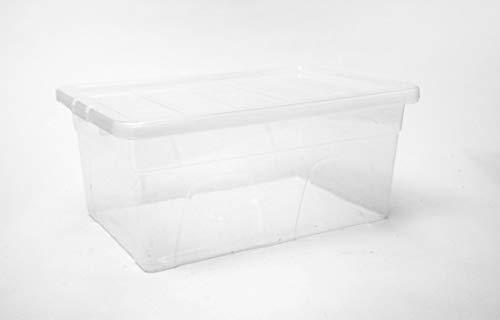 Home Storage KingCaja de almacenamiento transparente de plástico grande de 50 litros, caja fuerte y apilable, paquete de 5