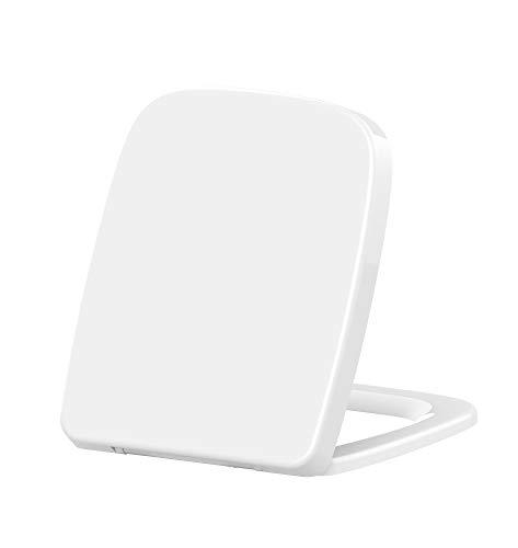 Grünblatt Premium WC Sitz 515215 Q-Form Duroplast Toilettendeckel Klobrille Absenkautomatik Toilettensitz abnehmbar zur Reinigung, passend zu Keramag Renova Nr. 1 Plan eckig
