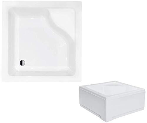 VBChome Acryl-Duschwanne mit Sitz Quadrat 80 x 80 cm Schürze tief + Ablaufgarnitur Viega Domoplex fi50 Duschtasse