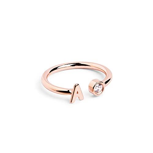 Anillo Personalizado Letter Diamond Oro Rosa - K - Joyas mujer
