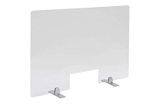 PlexiDirect - Spuckschutz Plexiglas Schutzwand Thekenaufsatz mit Durchreiche Niesschutz Hustenschutz, 3mm Schirm, Alumininum-Silber Bein, Große Schirm: 1500 x 650 mm (BxH)