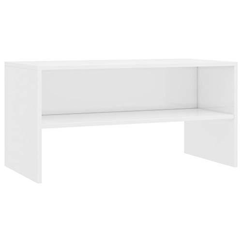 vidaXL TV Schrank Lowboard Couchtisch Fernsehschrank Fernsehtisch Sofatisch TV Tisch Möbel Board Sideboard Hochglanz-Weiß 80x40x40cm Spanplatte
