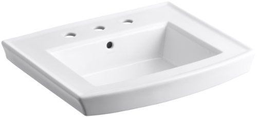 Kohler 2358-8-0 Vitreous china Pedestal Arch Bathroom Sink, 24.25 x 19.625 x 7.375 inches, White
