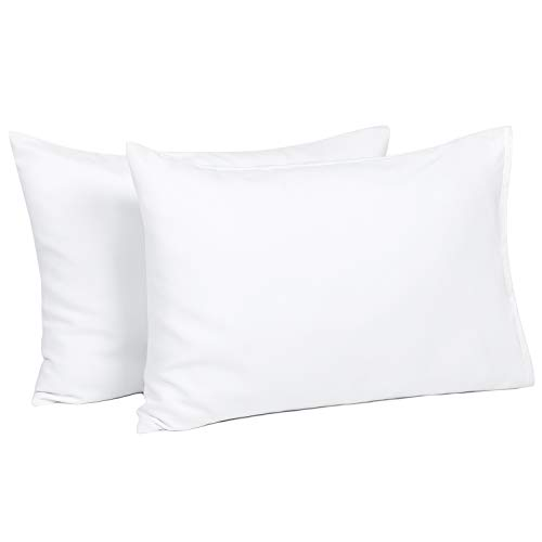 TILLYOU Toddler Travel Pillowcases Set of 2, 14x20- Fits Pillows Sized 12x16, 13x18 or 14x19, 100% Silky Soft Microfiber, Envelope Closure Machine Washable Kids Pillow Cases, White